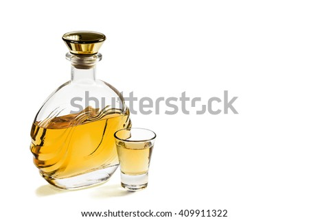Bottle and a shot glass of tequila on a white background - stock photo