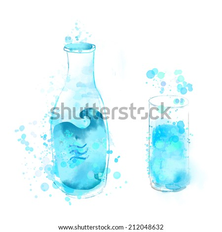 Bottle and glass of blue water. Watercolor illustration, raster image. Concept painting for healthy lifestyle. - stock photo