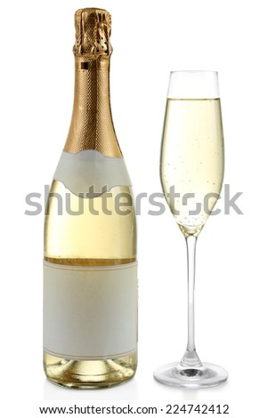 Bottle and glass of champagne, isolated on white - stock photo