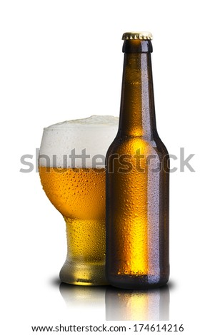 Bottle and Glass of Cold Beer