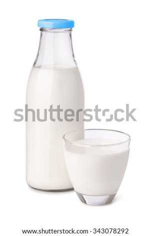 Bottle and glass of milk isolated on white - stock photo