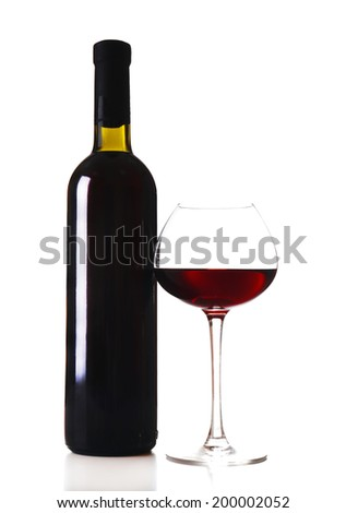 Bottle and glass of wine isolated on white