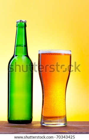 bottle and glass with beer