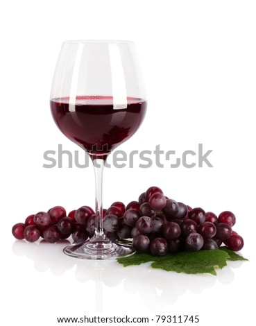 Bottle and glass with wine isolated on white - stock photo