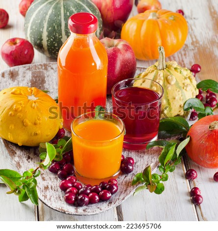Bottle and glasses of  fresh juice  - autumn still life. Selective focus - stock photo