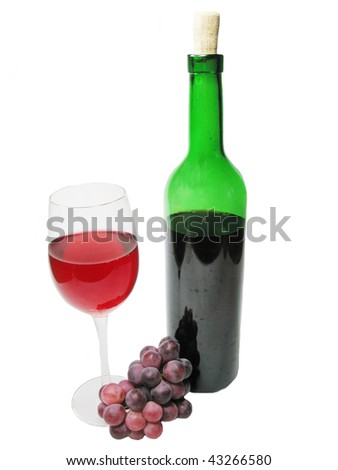bottle and goblet of red wine with grape