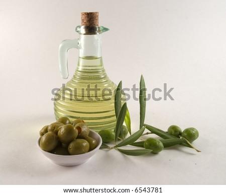 bottle and olives - stock photo