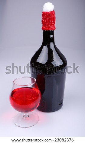 Bottle and red wine wine glass