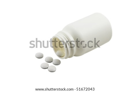 Bottle and tablets, isolated on the white background - stock photo