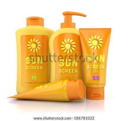 Bottle and tube containers of sun cream and lotion isolated on white background. Summer, sun tanning and sunscreen concept. - stock photo