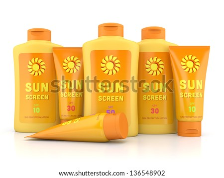 Bottle and tube containers of sun cream and lotion isolated on white glossy background. Summer, sun tanning and sunscreen concept. - stock photo