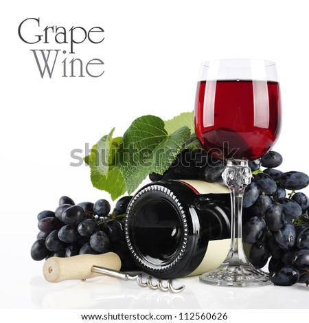 Bottle and wineglass with red wine isolated on white - stock photo