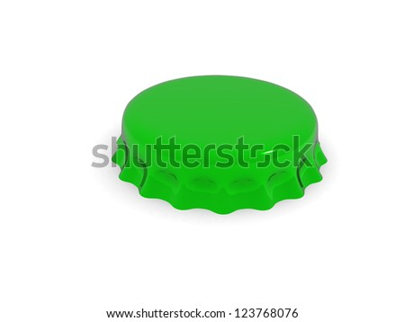 Bottle cap isolated on white - 3d rendered - stock photo