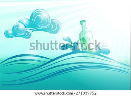 Bottle floating in the Sea. Bottle with a message on the sea waves. - stock photo