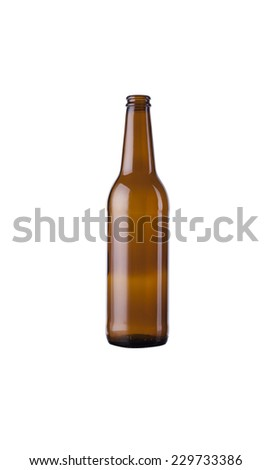 Bottle from under beer on a white background - stock photo