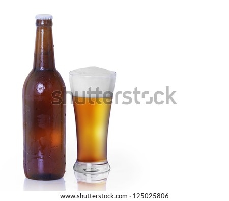Bottle  glass of beer isolated on white