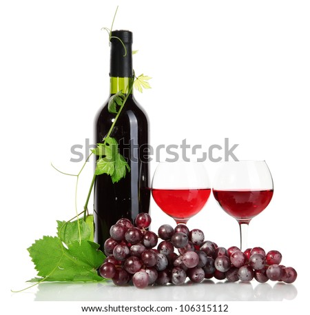 bottle, glasses of wine and ripe grapes isolated on white