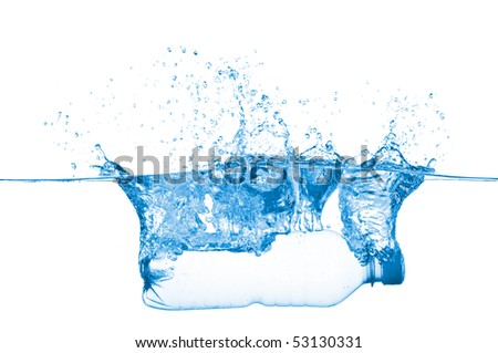 Bottle in water isolated on white background - stock photo