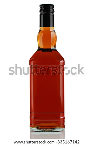 bottle of alcoholic beverage on a white background. - stock photo