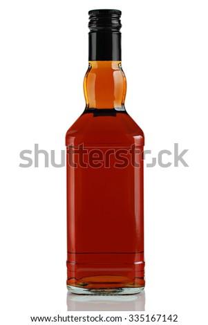 bottle of alcoholic beverage on a white background. - stock photo