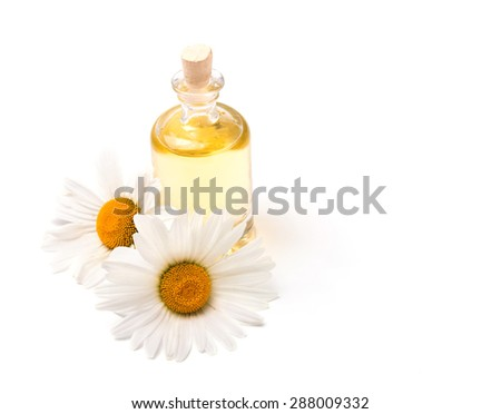 Bottle of aroma oil and two chamomiles isolated on white background - stock photo