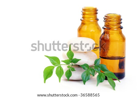 bottle of aromatherapy oil and fresh green leaves - beauty treatment