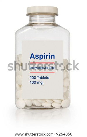 Bottle of aspirin with a clipping path on white background - stock photo
