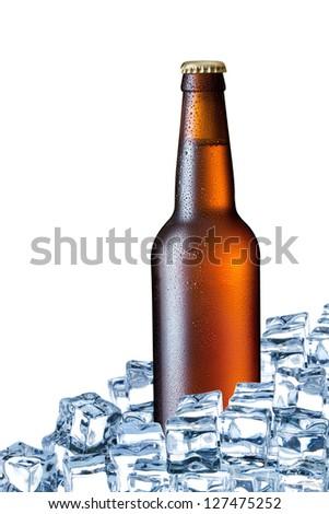 bottle of beer ice isolated on white background - stock photo