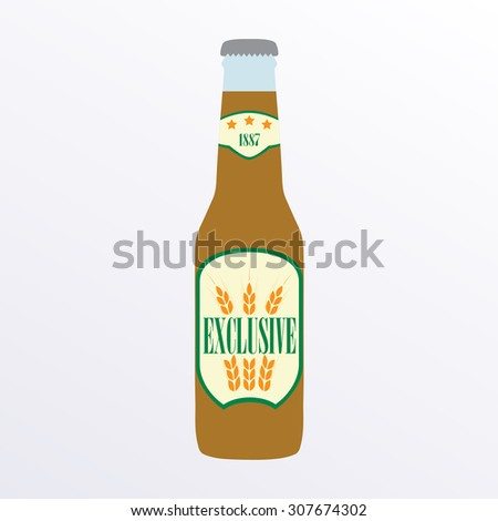 Bottle of beer icon with label on white background. Colorful illustration. Symbol or design element for restaurant, beer pub or cafe. - stock photo