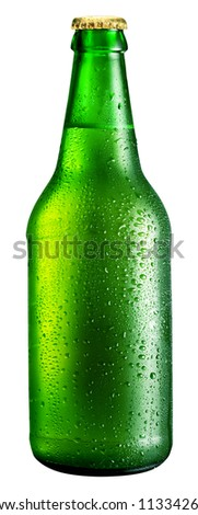 Bottle of beer isolated on a white background. File contains a path to cut. - stock photo