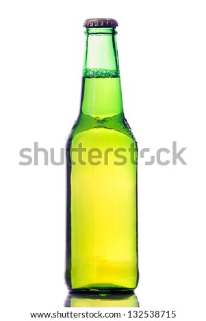 Bottle of beer isolated on a white background. With reflection