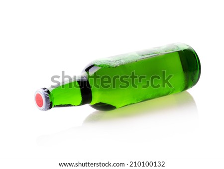 bottle of beer Isolated on white background - stock photo