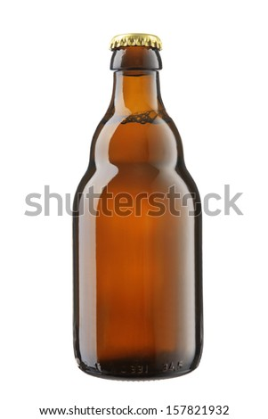bottle of beer on a white background  - stock photo