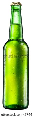 Bottle of beer on white background. File contains clipping paths. - stock photo