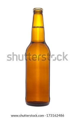 Bottle of beer with bubbles - stock photo