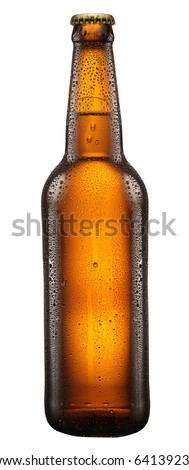 Bottle of beer with drops on white background. The file contains a path to cut. - stock photo