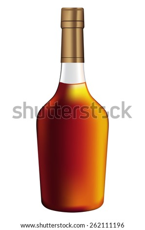 Bottle of brandy   isolated on white background. Raster version - stock photo