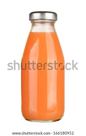 Bottle of carrot juice isolated on white background - stock photo