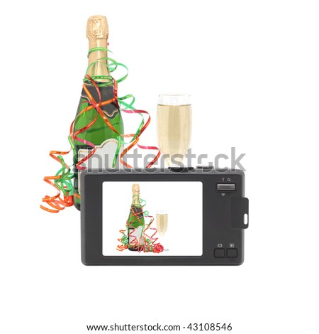Bottle of champagne and glass. Compact digital camera. Isolated object. - stock photo