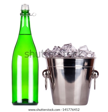 bottle of champagne and Metal ice bucket isolated on a white baclground