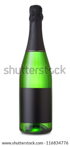 Bottle of champagne isolated on a white background - stock photo