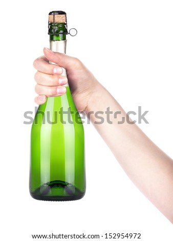 bottle of champagne making toast on a  white background - stock photo
