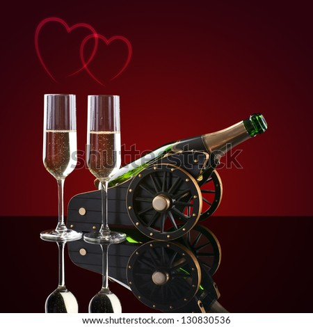 bottle of champagne, two glasses and hearts on a red background - stock photo