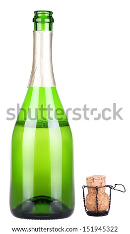 bottle of champagne uncork isolated on a white - stock photo