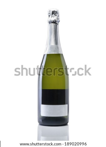 Bottle of champagne with clipping paths on white background