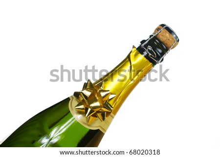 Bottle of champagne with cork - stock photo