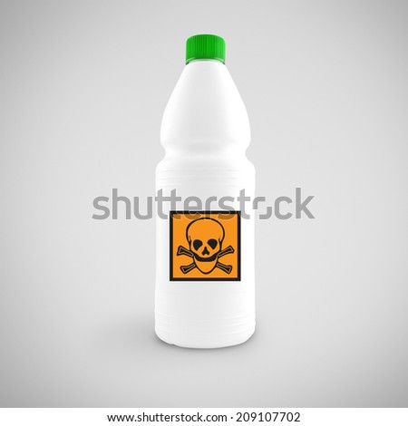 Bottle of chemical liquid with hazard symbol for toxic material - stock photo