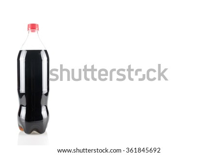 bottle of coca cola glass soda isolated on a white background - stock photo