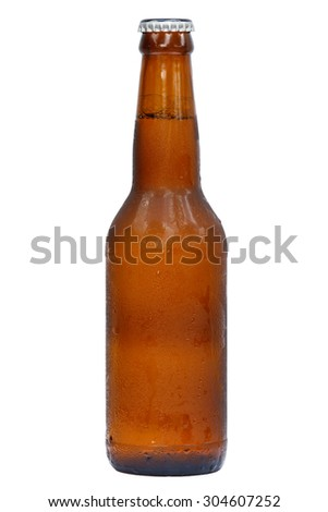 Bottle of cool beer for international beer day with isolated background.