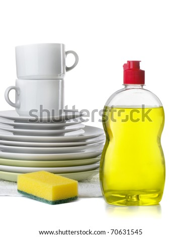 Bottle of dishwashing liquid and stack of utensils isolated on white - stock photo
